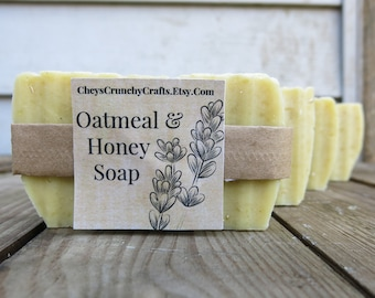 Oatmeal & Honey Soap - Hot Process Honey Soap - Hand Crafted Soap - All Natural Ingredients - Gifts For Her - Gifts For Him