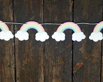 Pastel Rainbow Garland, Pastel Rainbow Banner, Rainbow Sign, Rainbow Birthday, Rainbow Party, Rainbow Decorations, Rainbow Baby Shower