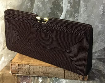 Lovely 1940's Corde Chocolate Brown Clutch Purse Signed Gold Seal Gold Tone Hardware Small Artel Hand Mirror Day Wear Slim Trim Art Deco