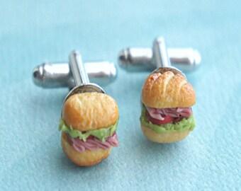 sub sandwich cuff links- miniature food, sandwich cuff links, tie tacks