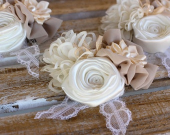 Fabric Wedding Corsage   Mother of the Bride Corsage, Fabric Wrist Corsage, Shabby Chic Corsage, Rustic Wrist Corsage, Prom Corsage