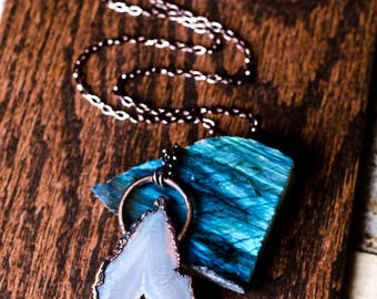 Mountain Peak Agate Slice Necklace