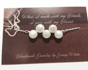 Elegant White Freshwater Pearl Bracelet - Bridesmaid Jewelry, Wedding Gift
