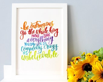 """Roald Dahl Framed Quote, Nursery Wall Art, Matilda Quote, Nursery Art, Roald Dahl Quote, Literary Quote, Literary Gifts - """"Be outrageous..."""""""