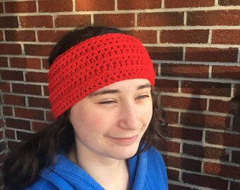 True Red Crocheted Earwarmer