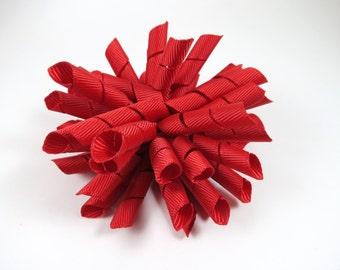 Red Korker Hair Bow  -  Red Hair Bow - Korker Hair Clip - Korker Hair Bow - Girl Hair Bow - Korker