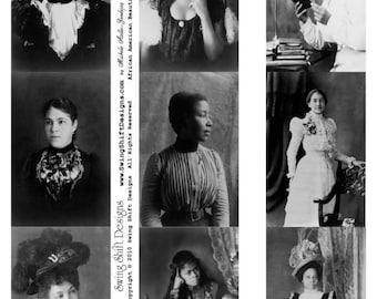 African American Beauties V1 - Ladies Collage Sheet, Digital Download JPG file by Swing Shift Designs