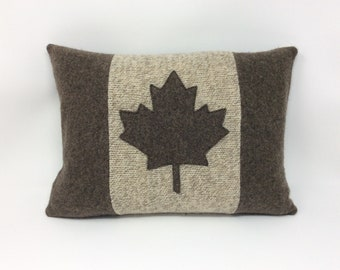 Canadian Flag pillow, Canadiana, maple leaf in brown