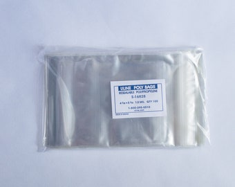 100 count 4 3⁄8 x 5 3⁄4 RESEALABLE POLY BAGS (S-16828), Small, fits A2 cards or 4-bar size