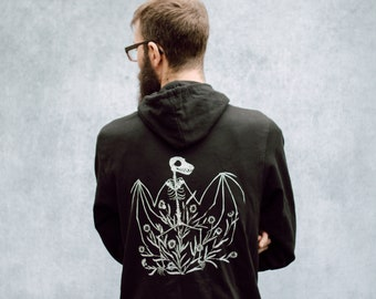 Bat Skeleton and Chicory Black Zip Up Screen Print Punk Fleece Hoodie