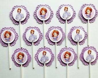 12 SOFIA the FIRST Cupcake Topper Party Picks - Disney Princess - Sofia - Purple