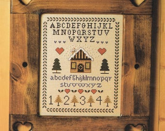 Christmas Cottage Counted Cross Stitch Pattern - Cabin Cross Stitch - House Cross Stitch - Alphabet Sampler