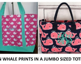 Monogrammed Totes  /JUMBO SIZED   /Organizer Tote /Beach Bag/ Matching cosmetic/  Gift Idea!---NEW !!!