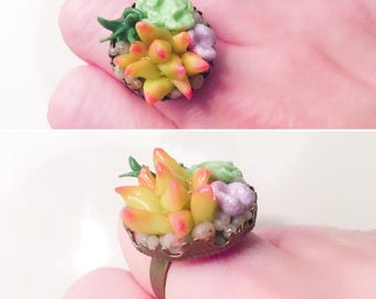 Succulent Ring- Succulent Jewelry -Boho Jewelry - Resin Nature Jewelry Woman - Polymer clay Cactus Jewelry