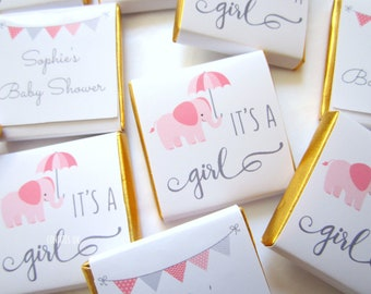Personalised Chocolates Girl Baby Shower, cute elephant, party favours, pack of 25 pcs