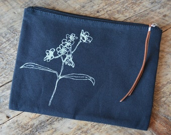 Black Spring Beauty Clutch/Travel Pouch