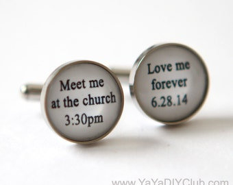 Bride to Groom Gift idea, Bride to Groom Gift, Groom Cuff Links, Personalized Cuff Links Wedding Cuff links - meet me at the church