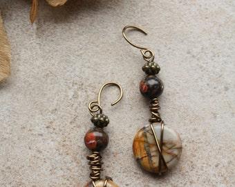 25 Red Creek jasper wire wrapped dangle earrings