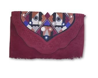 Ethnic Bag Bordeaux suede