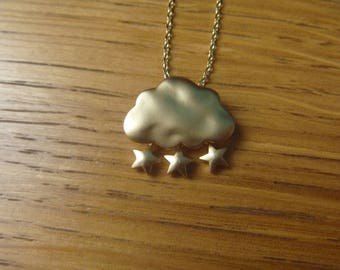 Cloud of autumn, gold stars: necklace