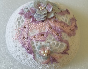Woman's Fancy Yarmulke Kippah With Ombre Blue, Pink and Lavendar Lace With Pearls and Gems and 3D Flowers