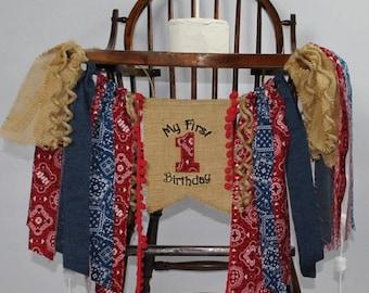COWBOY/Rodeo Red Bandana/Blue Jean Birthday Banner-1st Birthday HIGH CHAIR Banner-Birthday Banners-Birthday Banner One-Custom Banners