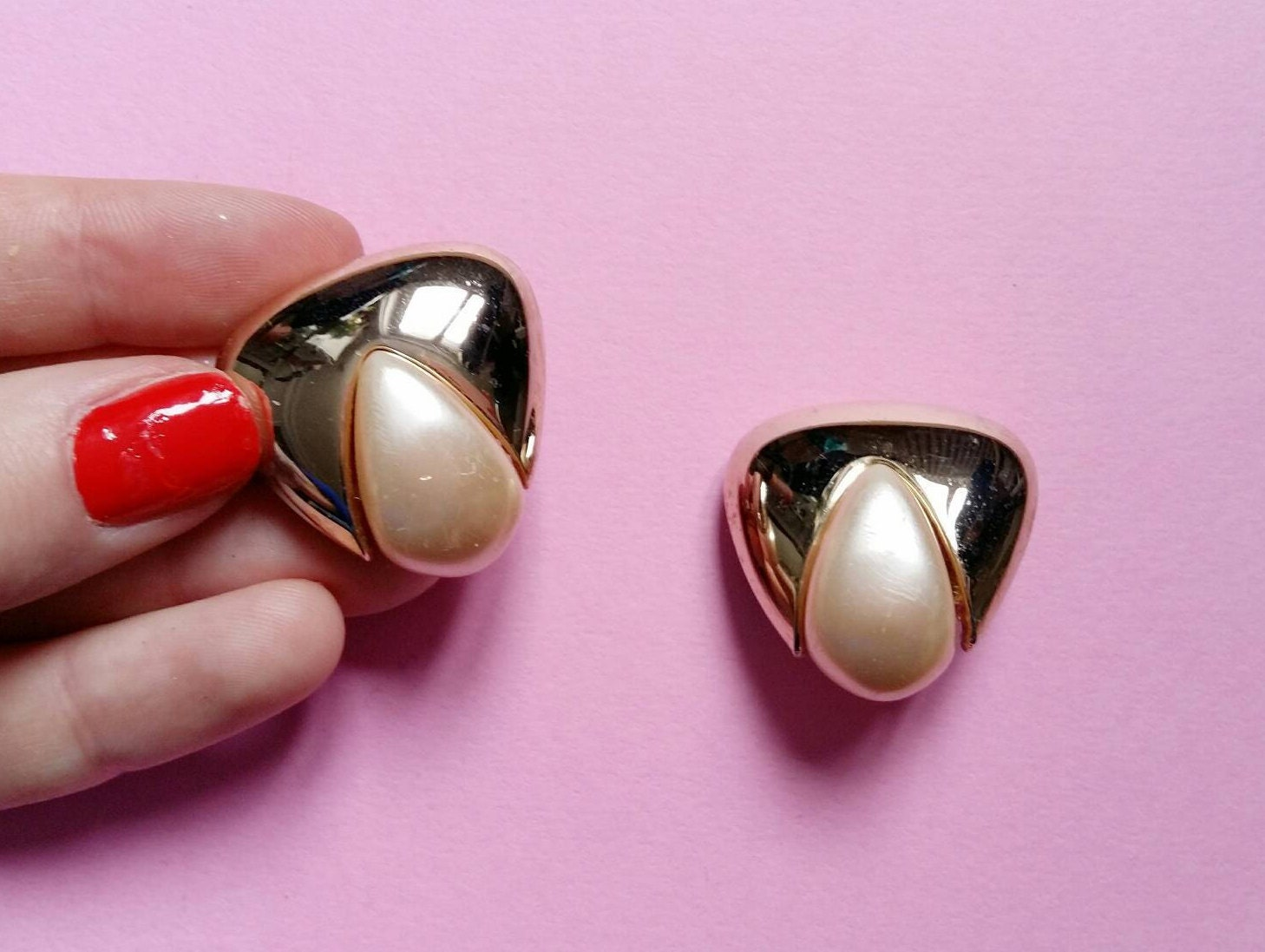 Vintage Orena clip on earrings. triangler shape and pearly