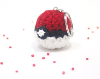 Tiny, Miniature, Crochet, Amigurumi, Cute, Kawaii, Handmade Pokemon Pokeball, Keychain, Fanart