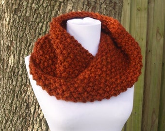 Knit Cowl Scarf - Mobius Cowl in Rust Burnt Orange Cowl - Womens Accessories