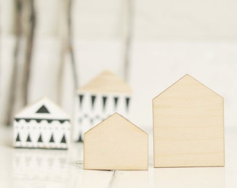 Lovely SET Of 2 Pcs   Wooden Houses, House Shape, Natural Wood, Ready To  Decorate,unpainted,make Your Own Jewelry, DIY