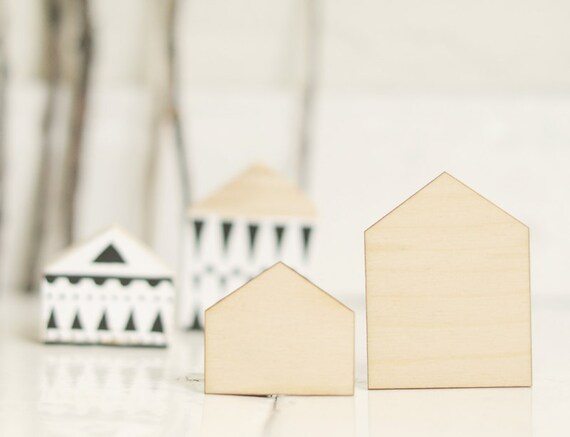 SET Of 2 Pcs   Wooden Houses, House Shape, Natural Wood, Ready To  Decorate,unpainted,make Your Own Jewelry, DIY From ForCRAFT On Etsy Studio