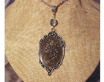 Boho necklace large glitter Galaxy cabochon