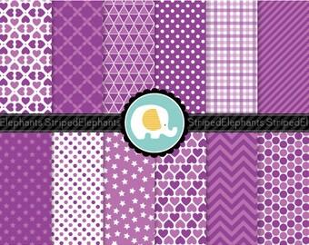 Violet Digital Paper Pack - Digital Scrapbook Paper - Instant Download - Commercial Use