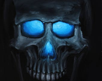 """6x6"""" Original Oil Painting - Skull Painting -  Macabre Decor Wall Art Gift for Men"""