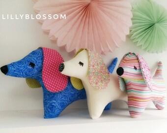 Daschund plushie puppy pillow with contrasting ears handmade children's room decor gift floppy ears sleepy dog