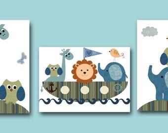 Art for Childrens Wall Art Baby Room Decor Baby Boy Nursery Print Baby Nursery Decor set of 3 Owl Decoration Giraffe Elephant Blue Navy
