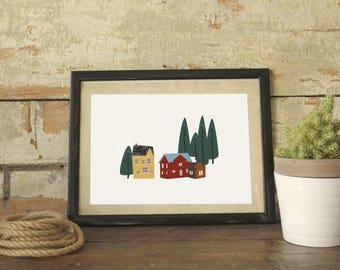 My lovely neighborwood   Digital Print   Nordic village illustration   Printable illustration