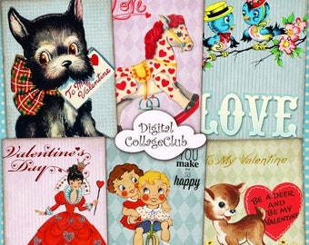 80% Off Spring Sale Retro Valentine Vintage Valentines Day Digital Collage Sheet Jewelry Holder Digital Background Valentine ATC Cards ACEO