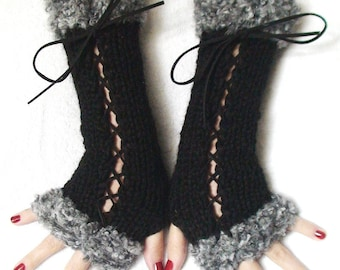 Fingerless Gloves Black Handknit Corset  Mitts with  Grey Boucle Edges Victorian Style