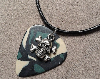 Skull and Crossbones Charm on Genuine Camouflage/Camo Guitar Pick Necklace