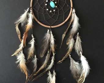 Dreamcatcher with Turquoise and long chinchilla feathers! brown dreamcatcher, boho dreamcatcher, boho decor, tribal home decor!