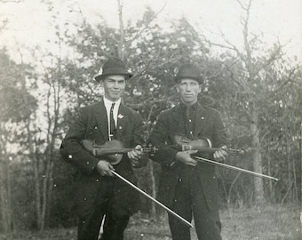 HANDSOME Young Men With Their VIOLINS Getting Ready to Perform Photo Postcard circa 1910s