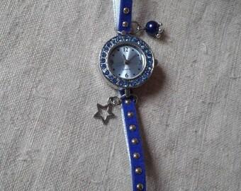 Watch Blue rhinestones and Ribbon bracelet
