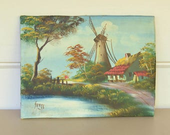Dutch  Painting on Canvas, Vintage Art, Windmill,  Geers