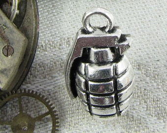 1 or 4, Hand Grenade, Hand Grenade Charm, Grenade, Grenade Charm, Military Charm, Bomb, Silver Grenade Charm, SYM067