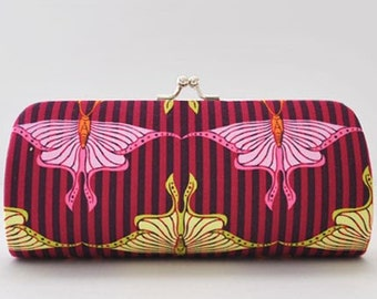 Luna Moth in Raspberry..Small Clutch Purse