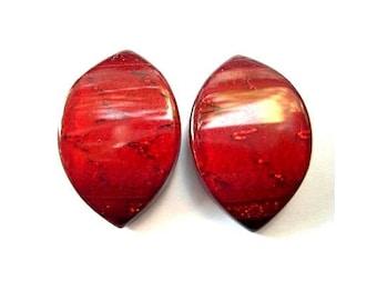 6 Vintage buttons, deep red unique shape-choose size