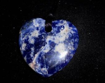 Rich Blue SODALITE HEART PENDANT*Valentine's Heart*44 millimeters*on 26 inch Black Satin Cord