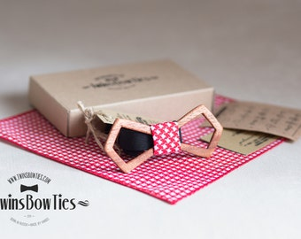 Wooden bow tie Boris Fresh Retro + pocket square. Men Accessories. 100% hand made. Best personal gift. Real wood bow tie and fabric.