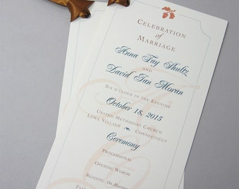 Fall Wedding Ceremony Program Acorns Oak Leaves One Page Autumn Colors Rust Beige Teal